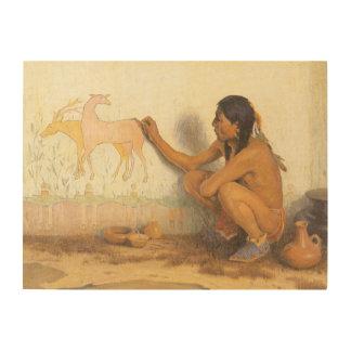 Nativo americano del vintage, artista indio por impresiones en madera