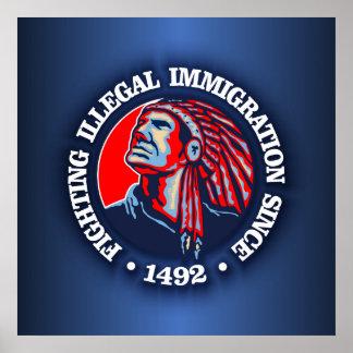 Nativo americano (inmigración ilegal) póster