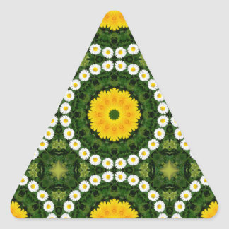 Naturaleza de las margaritas, Flor-Mandala Pegatina Triangular