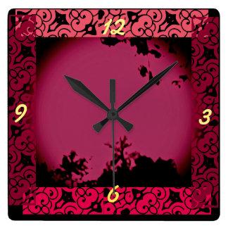 Naturaleza tropical reloj cuadrado