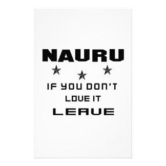 Nauru si usted no lo ama, se va papelería personalizada