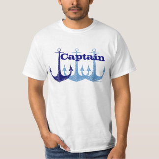 Náutico azul del capitán del ancla personalizado camiseta