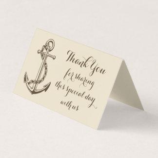 Náutico gracias enviar amor del boda de Brown del Tarjeta De Asiento