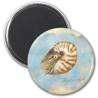 Nautilus de la historia natural imán redondo 5 cm