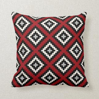 Navajo geométrico en gris negro rojo cojín decorativo