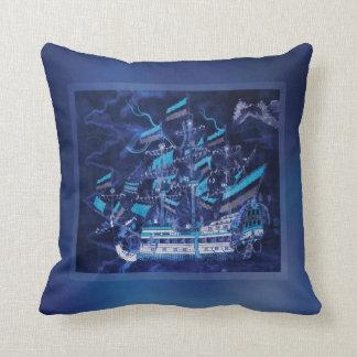 Nave azul de medianoche en la noche cojín