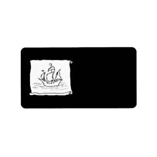 Nave de pirata etiqueta de dirección