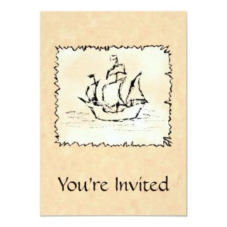 Nave de pirata invitación 12,7 x 17,8 cm