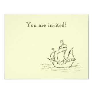 Nave de pirata invitación 10,8 x 13,9 cm