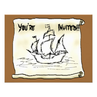 Nave de pirata invitacion personalizada