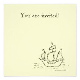 Nave de pirata invitación 13,3 cm x 13,3cm