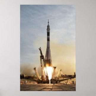 Nave espacial del poster del lanzamiento de Soyuz Póster