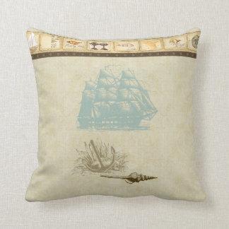 Nave náutica del rosetón del vintage del mapa de cojín