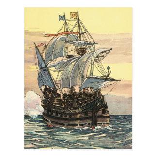 Navegación de Galleon del barco pirata del vintage Postal