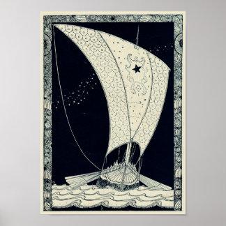 Navegación de Viking Longship en la noche Póster