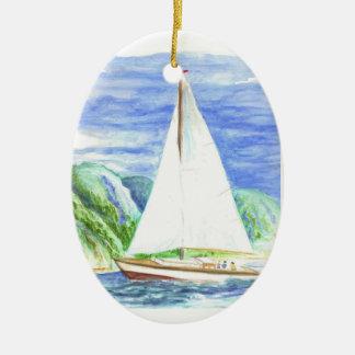 Navegación en la bahía - lápiz de la acuarela adorno ovalado de cerámica