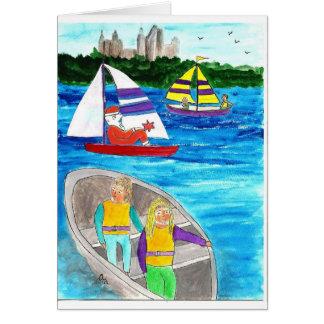 Navegación feliz con las vacaciones tarjetón