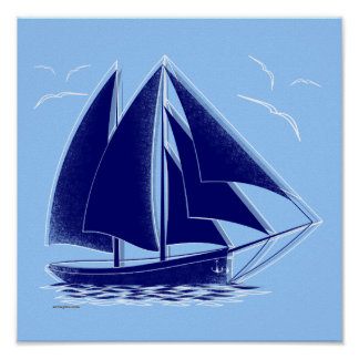 ¡Navegación rápida! náutico, vendimia Póster