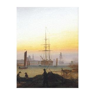 Naves de Caspar David Friedrich en el puerto Lienzo
