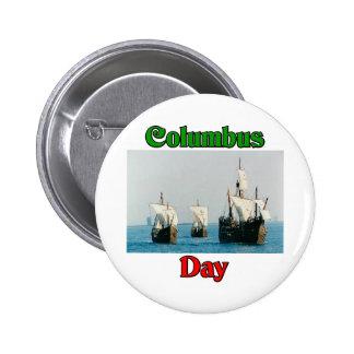 Naves del día de Colón Chapa Redonda De 5 Cm