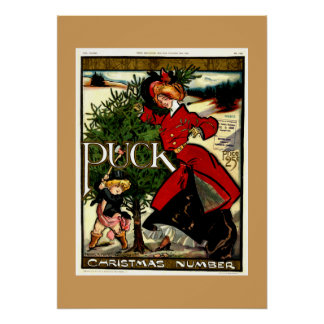 Navidad 1900 de la revista del duende malicioso póster