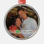 Navidad 2011 adorno redondo plateado