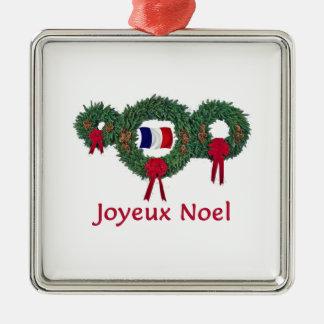 Navidad 2 de Francia Adorno Cuadrado Plateado