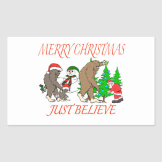 Navidad 2 de la familia de Bigfoot Pegatina Rectangular
