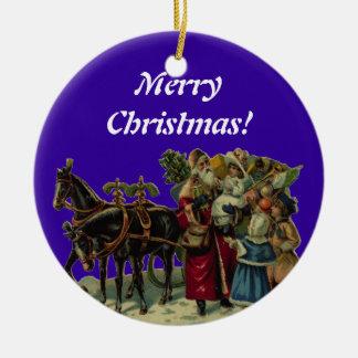 Navidad 2 del padre adorno navideño redondo de cerámica