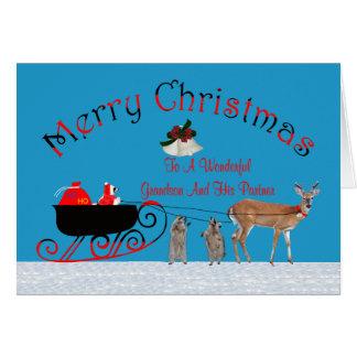 Navidad a la tarjeta de felicitación del nieto y d