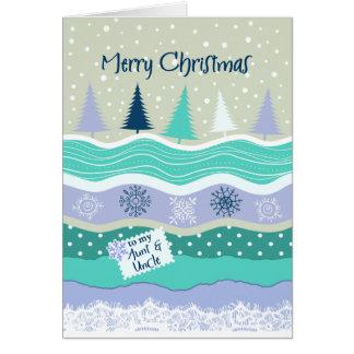Navidad - a la tía y al tío - árboles, copos de tarjeta