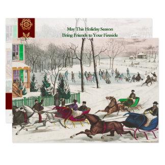 Navidad abierto de un del caballo del trineo invitación 12,7 x 17,8 cm