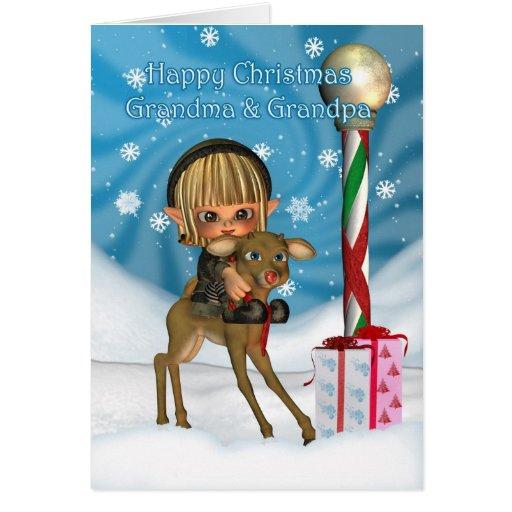 Navidad abuelo y reno del duende de la abuela, Rud Tarjeton