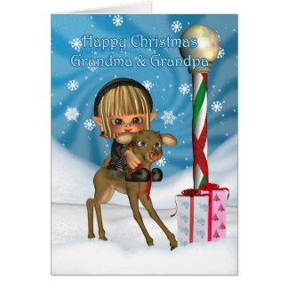 Navidad abuelo y reno del duende de la abuela, tarjeton