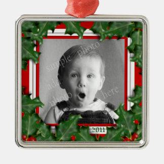 Navidad acebo, marco de la foto, ornamento rojo de