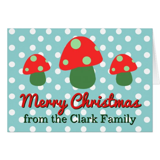 Navidad adaptable de la familia de la seta linda tarjeta de felicitación