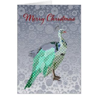Navidad adornado de plata del pavo real que saluda felicitacion