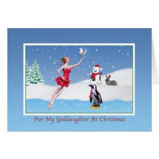 Navidad, ahijada, bailarina, invierno, nieve tarjeta de felicitación