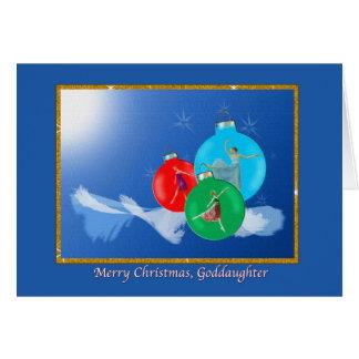 Navidad, ahijada, bailarinas tarjeta de felicitación