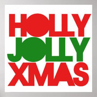 Navidad alegre de Navidad del acebo Póster