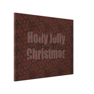 """Navidad alegre del acebo 53,55"""" x40 """" lona envuelta para galerias"""