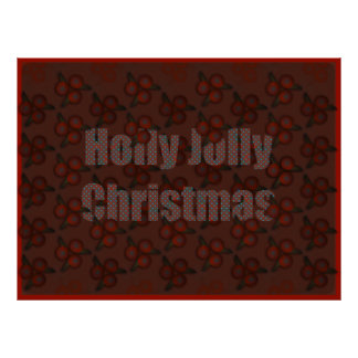 """Navidad alegre del acebo 53,55"""" x40 """" póster"""