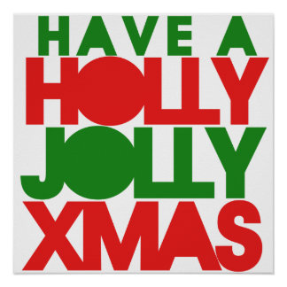 Navidad alegre del acebo posters