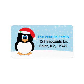 Navidad alegre del pingüino etiqueta de dirección