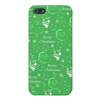 Navidad alegre verde festivo del padre iPhone 5 carcasa