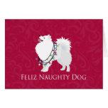 Navidad americano de Feliz Naughty Dog del perro Tarjeta De Felicitación