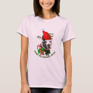 Navidad americano de Terrier de pitbull Camiseta