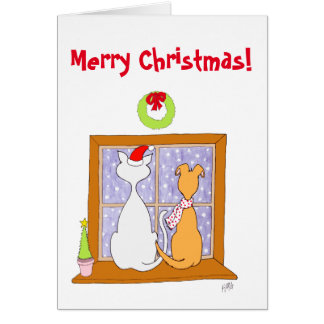 Navidad: Amigos (gato y perro) Tarjeta De Felicitación