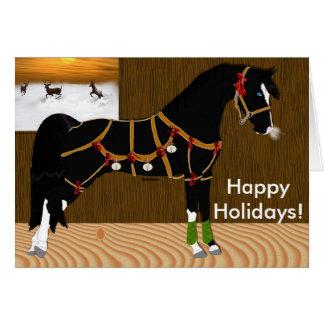 Navidad árabe negro del caballo tarjeta de felicitación