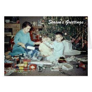 Navidad, árbol del día de fiesta de los años 50 tarjeta de felicitación